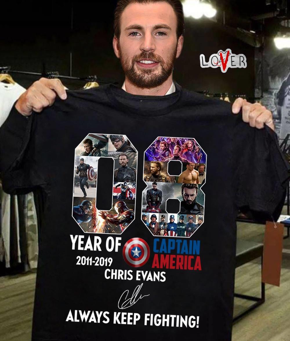 08 year of Captain America 2011-2019 Chris Evans signature always keep fighting shirt