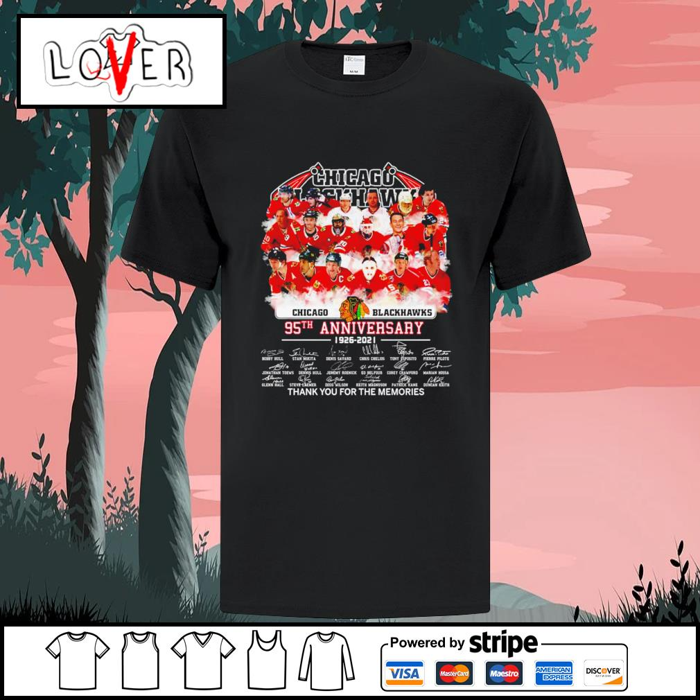 Chicago Blackhawks 95th anniversary thank you for the memories signatures shirt