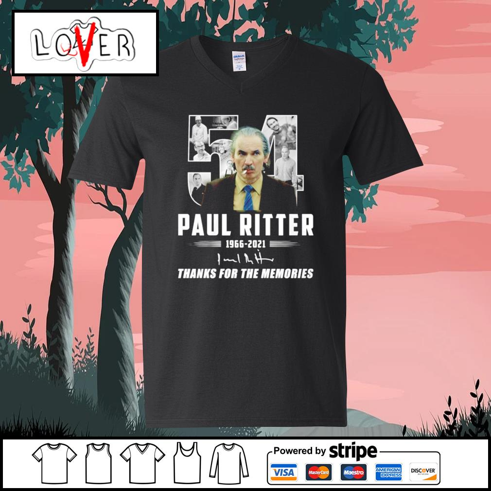 54 Paul Ritter thank you for the memories 1966 2021 signature V-neck-T-shirt