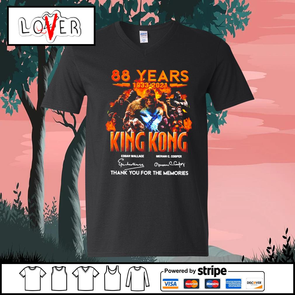 88 years 1933 2021 King Kong signature thank you for the memories V-neck-T-shirt