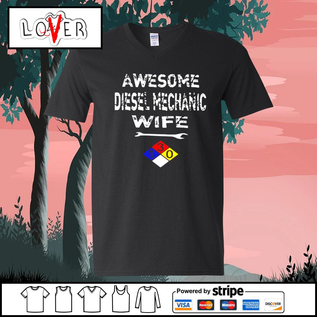 Awesome diesel mechanic wife V-neck-T-shirt