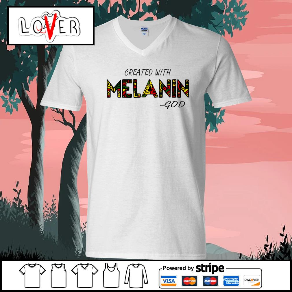 Created with Melanin God V-neck-T-shirt