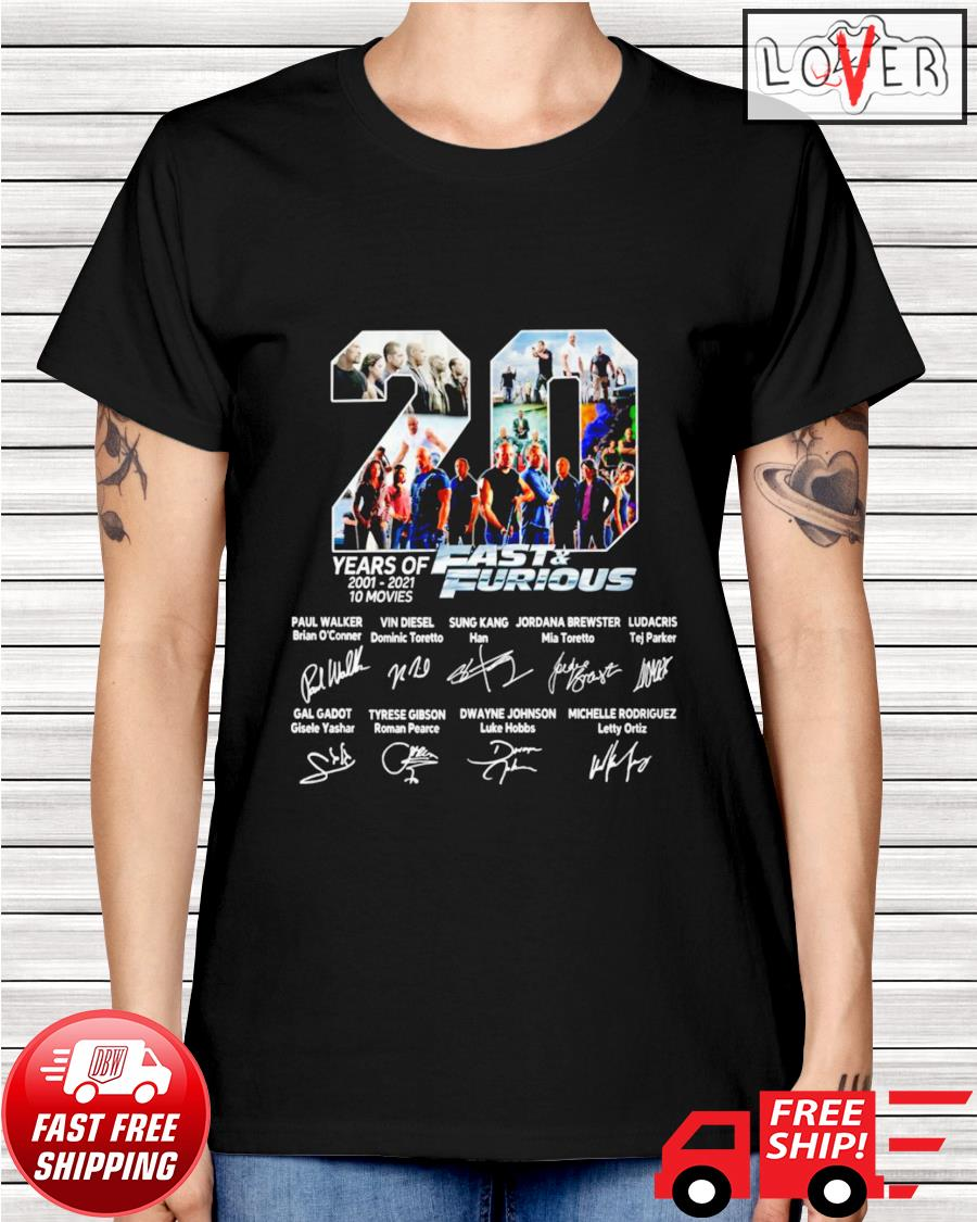 20 Years of 10 movies Fast and Furious name and signature characters ladies-tee