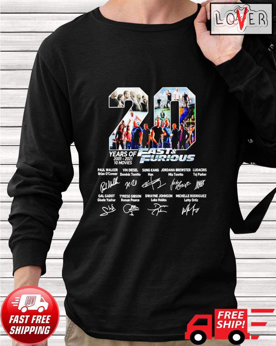 20 Years of 10 movies Fast and Furious name and signature characters longsleeve-tee