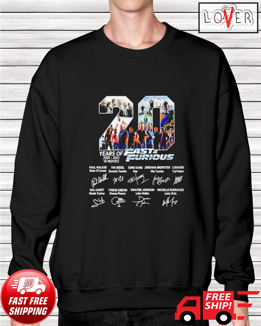 20 Years of 10 movies Fast and Furious name and signature characters sweater
