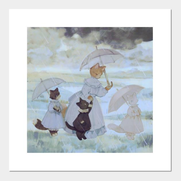 Cats Rainy Posters and Art Prints
