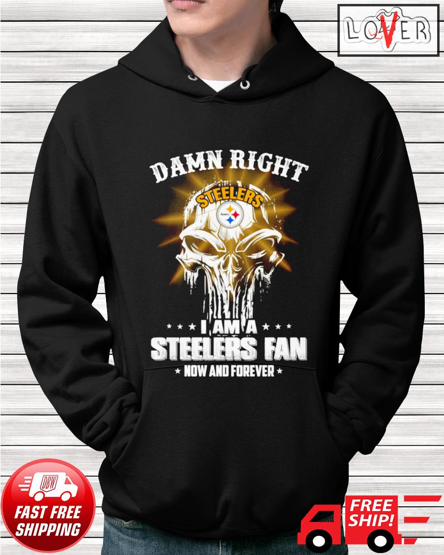 Damn right I am a Steelers fan now and forever skull hoodie