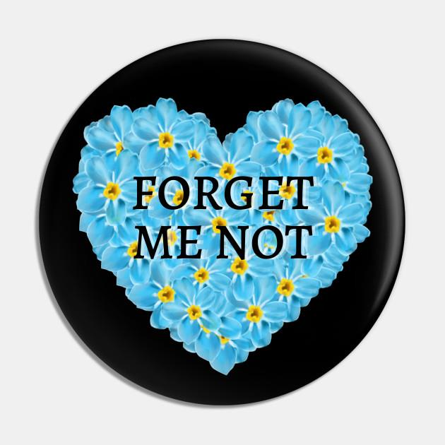 Forget Me Not Flower Heart Pin