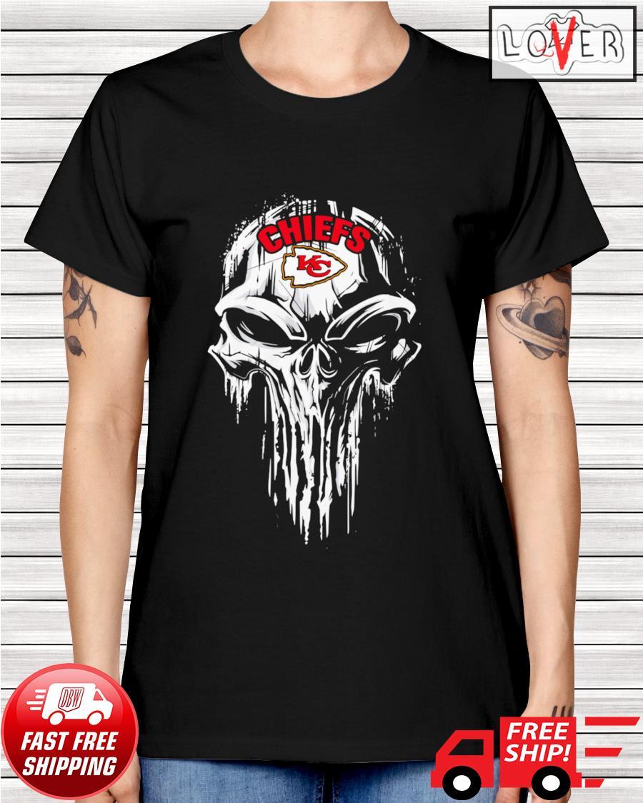 Kansas City Chiefs skull ladies-tee