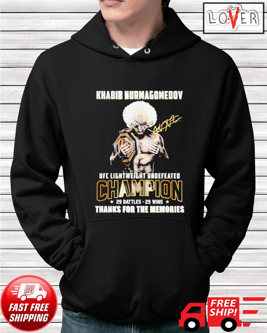 Khabib Nurmagomedov UFC Lightweight Undefeated thank you for the memories signatures hoodie