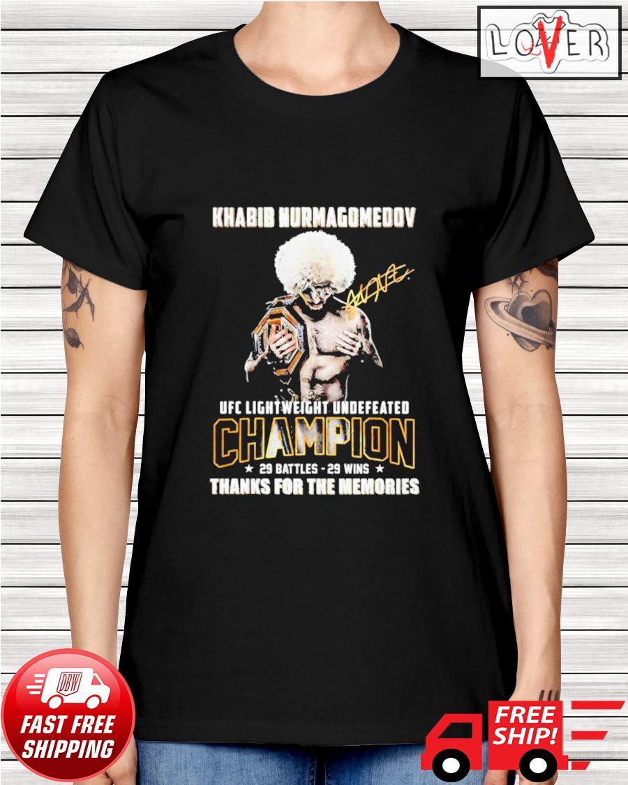 Khabib Nurmagomedov UFC Lightweight Undefeated thank you for the memories signatures ladies-tee