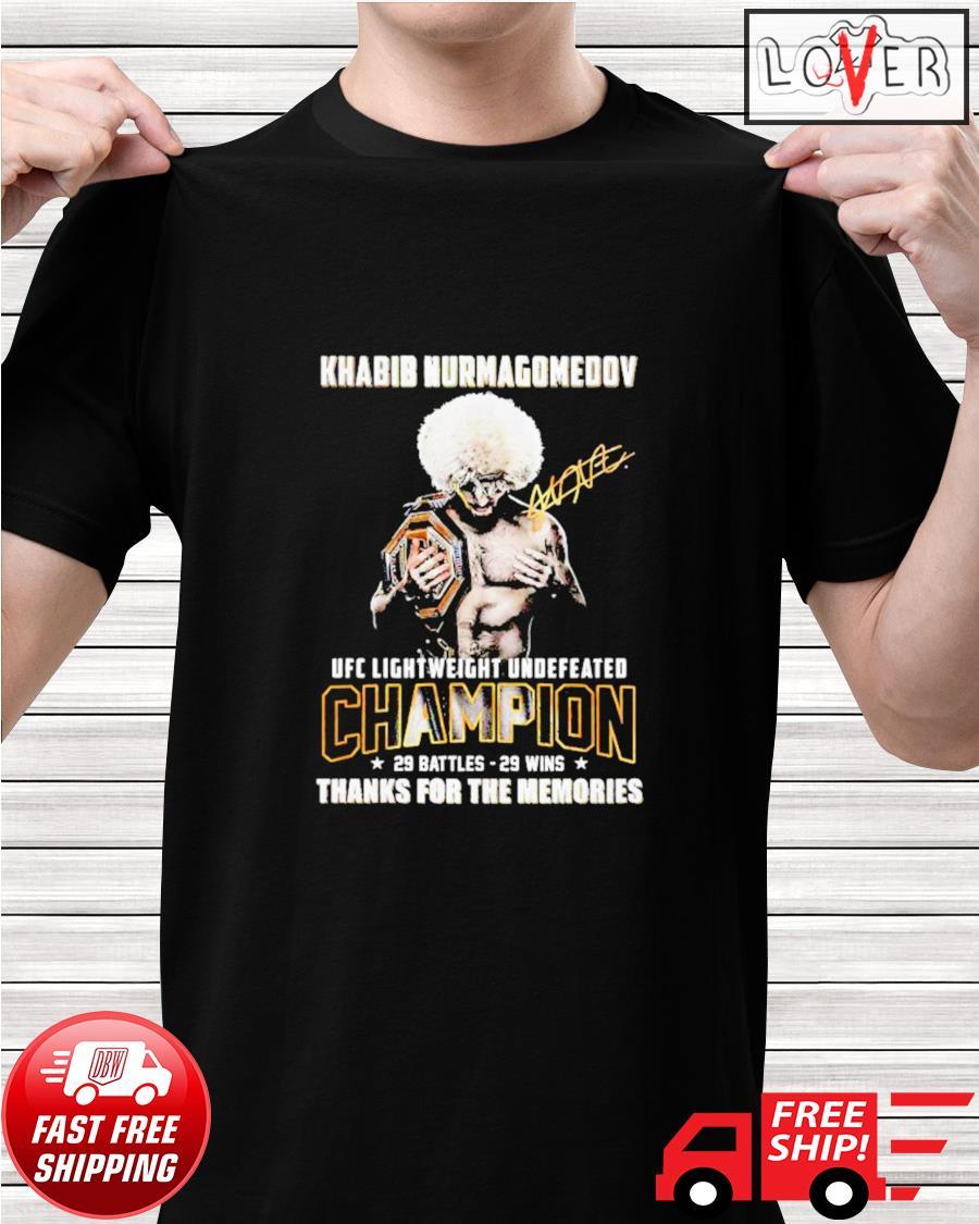 Khabib Nurmagomedov UFC Lightweight Undefeated thank you for the memories signatures shirt