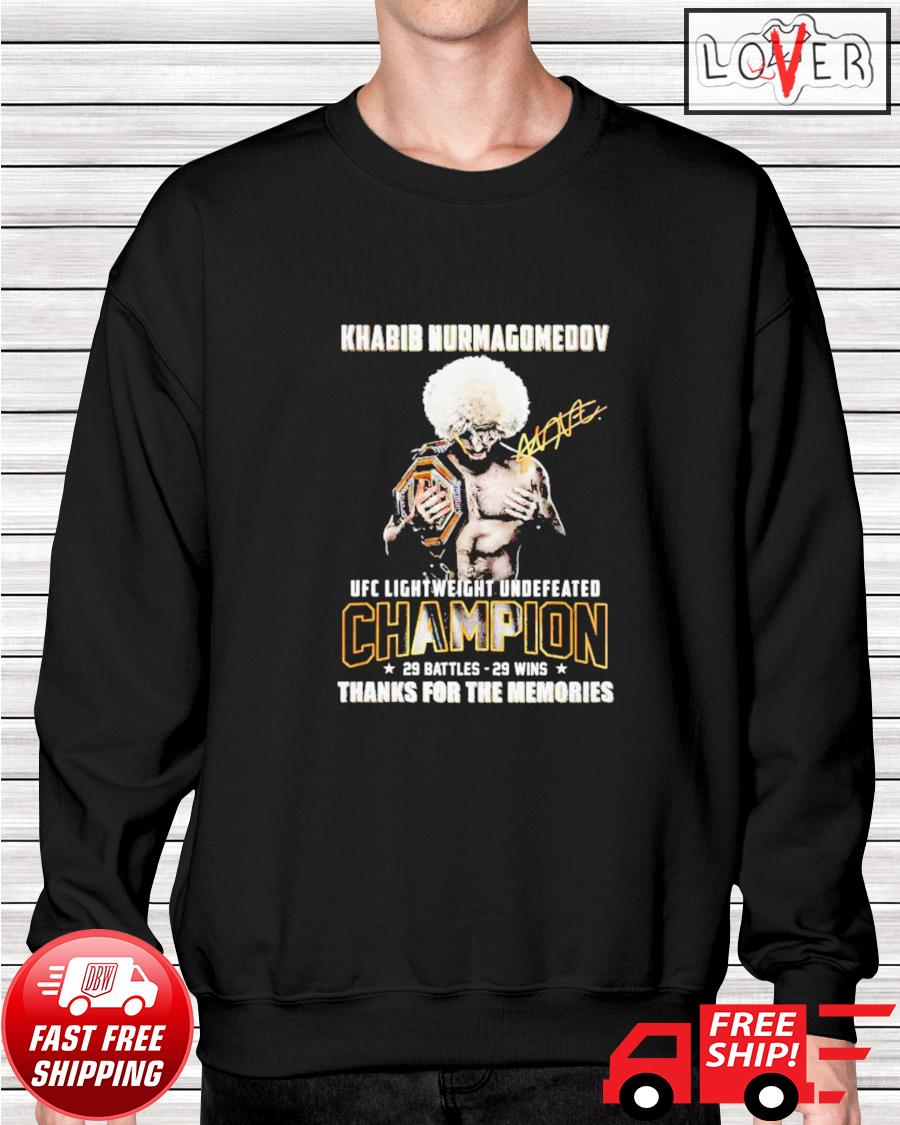 Khabib Nurmagomedov UFC Lightweight Undefeated thank you for the memories signatures sweater
