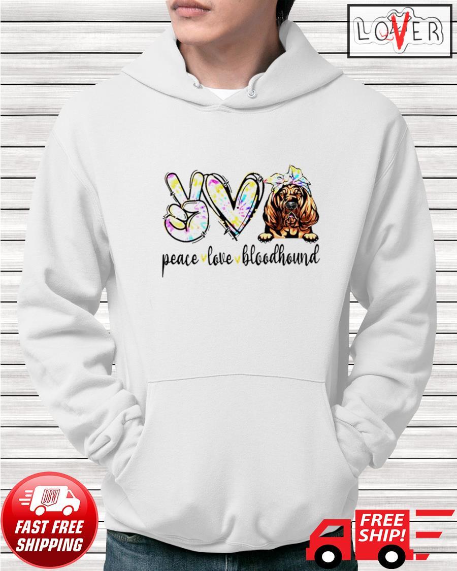 Peace love Bloodhound dog tie dye dogs hoodie