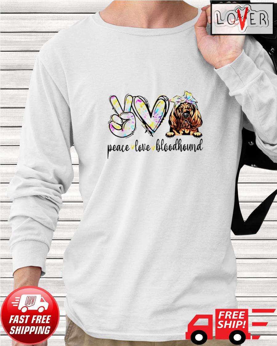 Peace love Bloodhound dog tie dye dogs longsleeve-tee