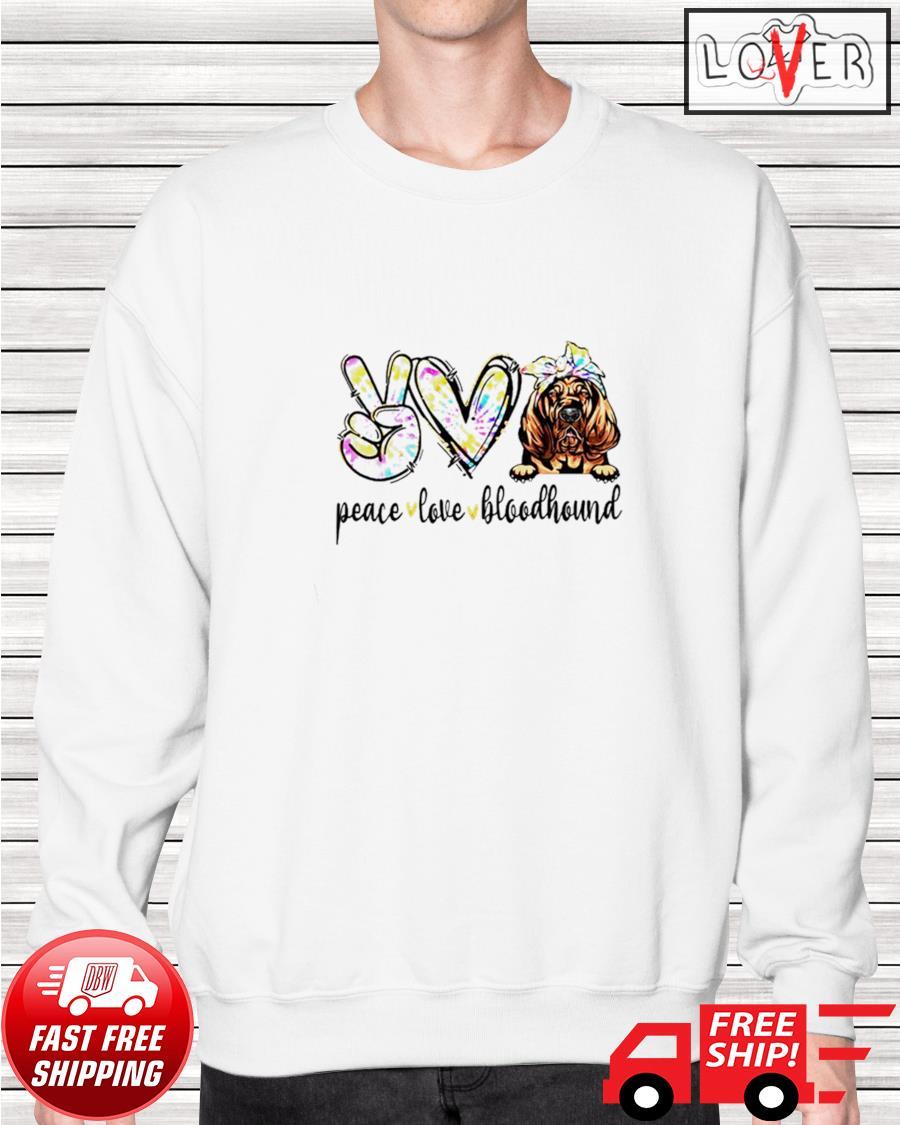Peace love Bloodhound dog tie dye dogs sweater