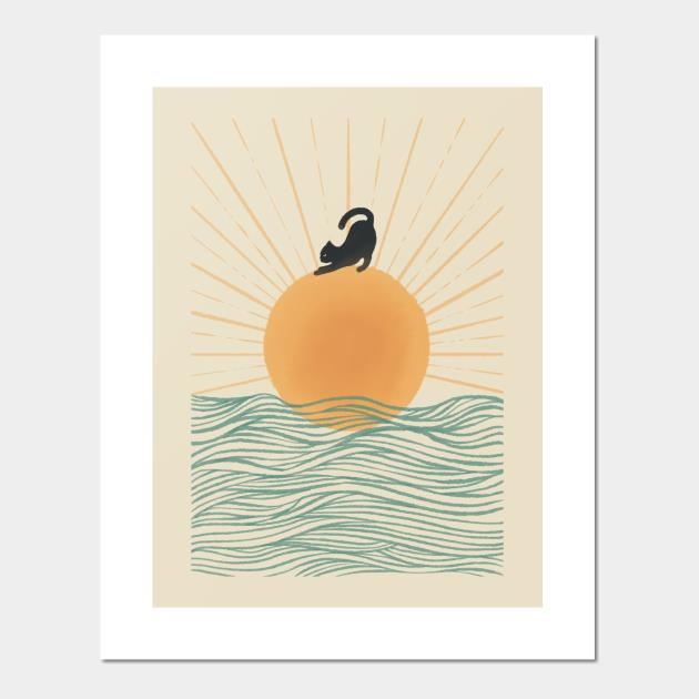 Yoga Cat on Sunrise ocean wave Posters and Art Prints