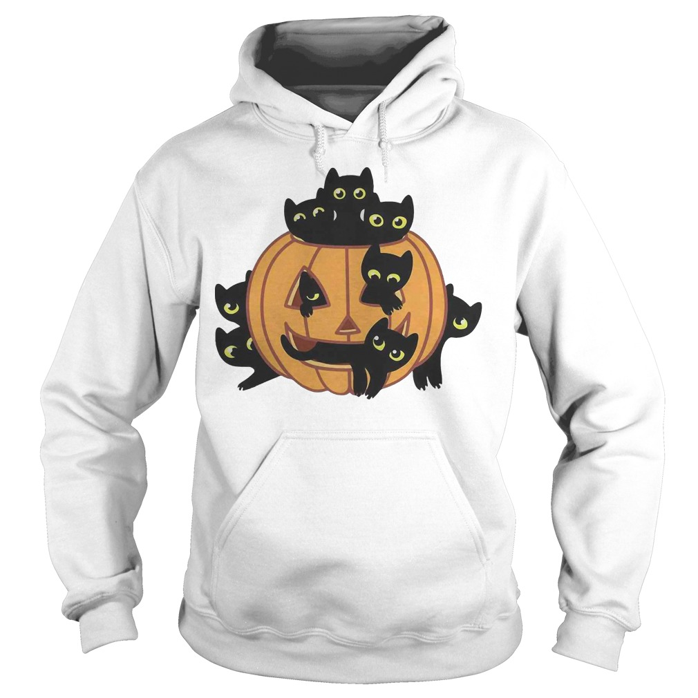 Black Kittens Pumpkin Halloween hoodie