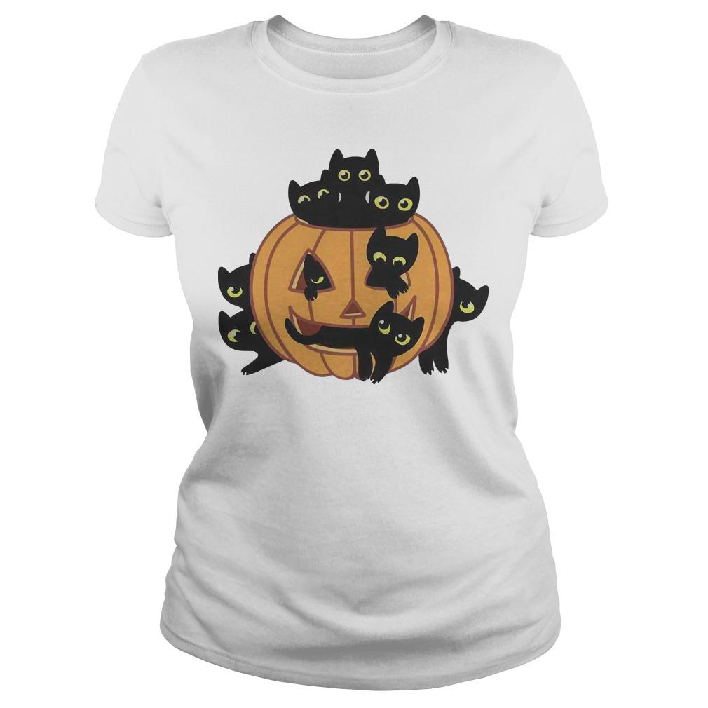 Black Kittens Pumpkin Halloween ladies tee