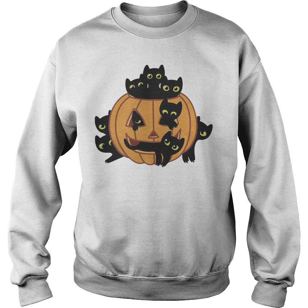Black Kittens Pumpkin Halloween sweater