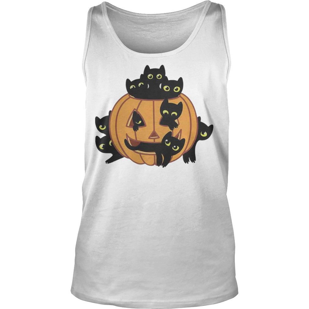 Black Kittens Pumpkin Halloween tank top
