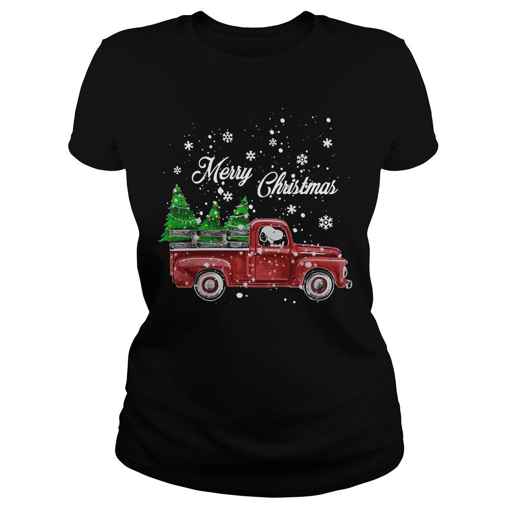 Merry Christmas Snoopy driving Christmas tree ladies tee