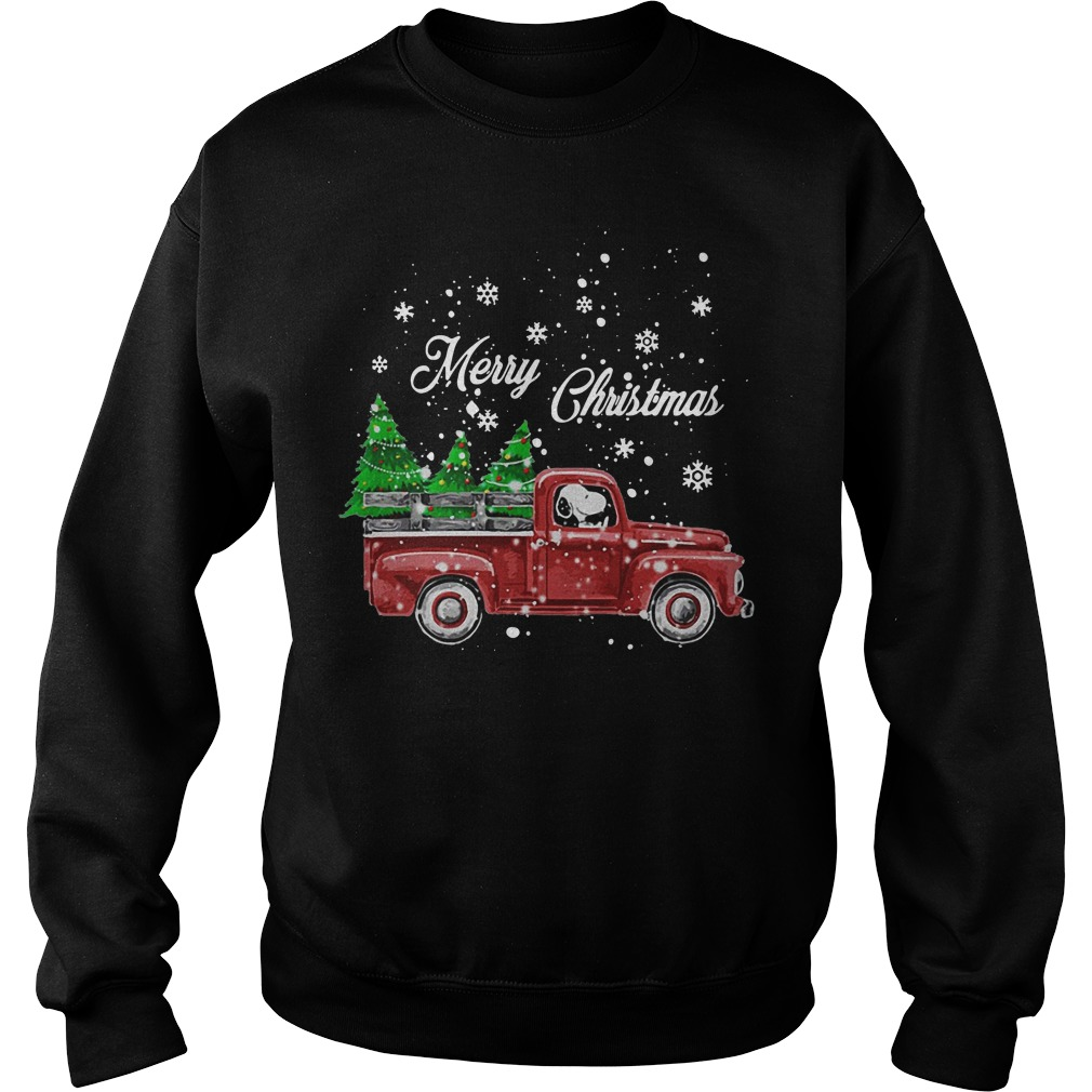 Merry Christmas Snoopy driving Christmas tree sweater