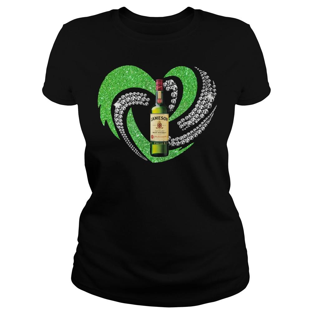 St. Patrick's Day Shamrock Irish Jameson Love Wine Heart Bling shirtSt. Patrick's Day Shamrock Irish Jameson Love Wine Heart Bling Ladies Tee