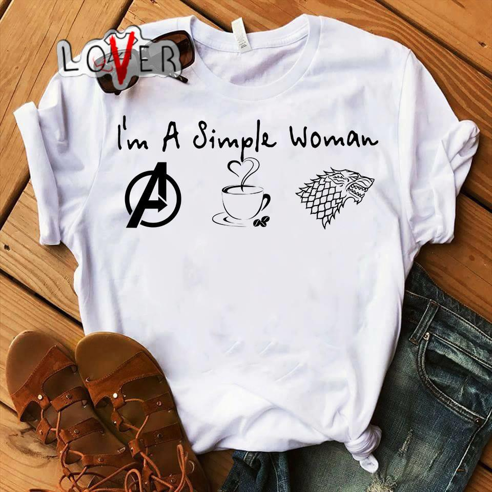e51113d7 I'm a simple woman Avengers Coffee and House Stank shirt
