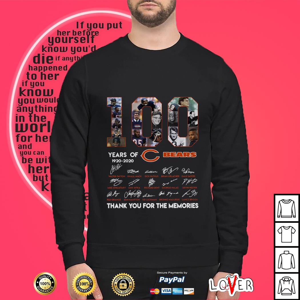 100 years of Chicago Bears 1920 2020 signature thank you for the memories Sweater