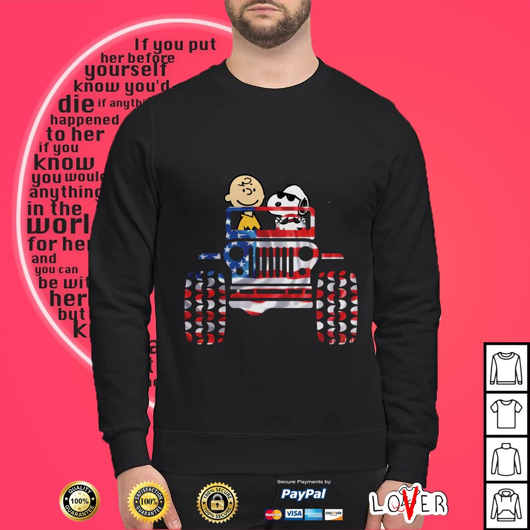 American they are Snoopy and Charlie Brown Drive Jeep Sweater