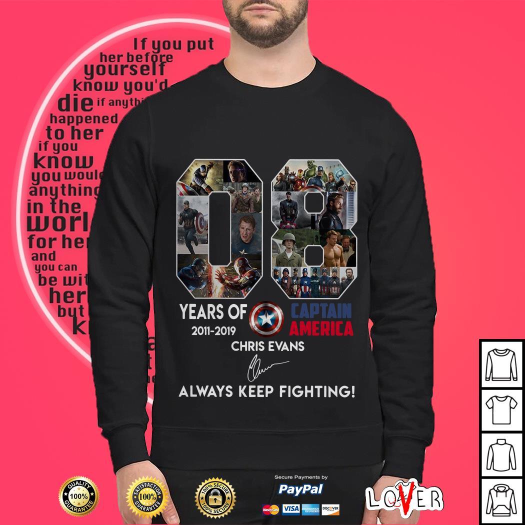 08 year of Captain America 2011-2019 Chris Evans signature always keep fighting Sweater