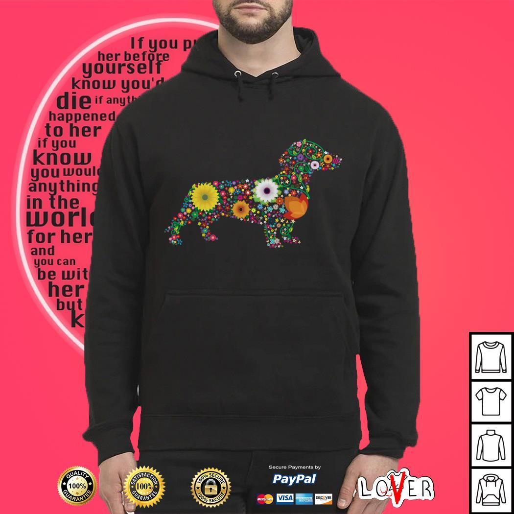 Dachshund Dog Flower custom text Hoodie