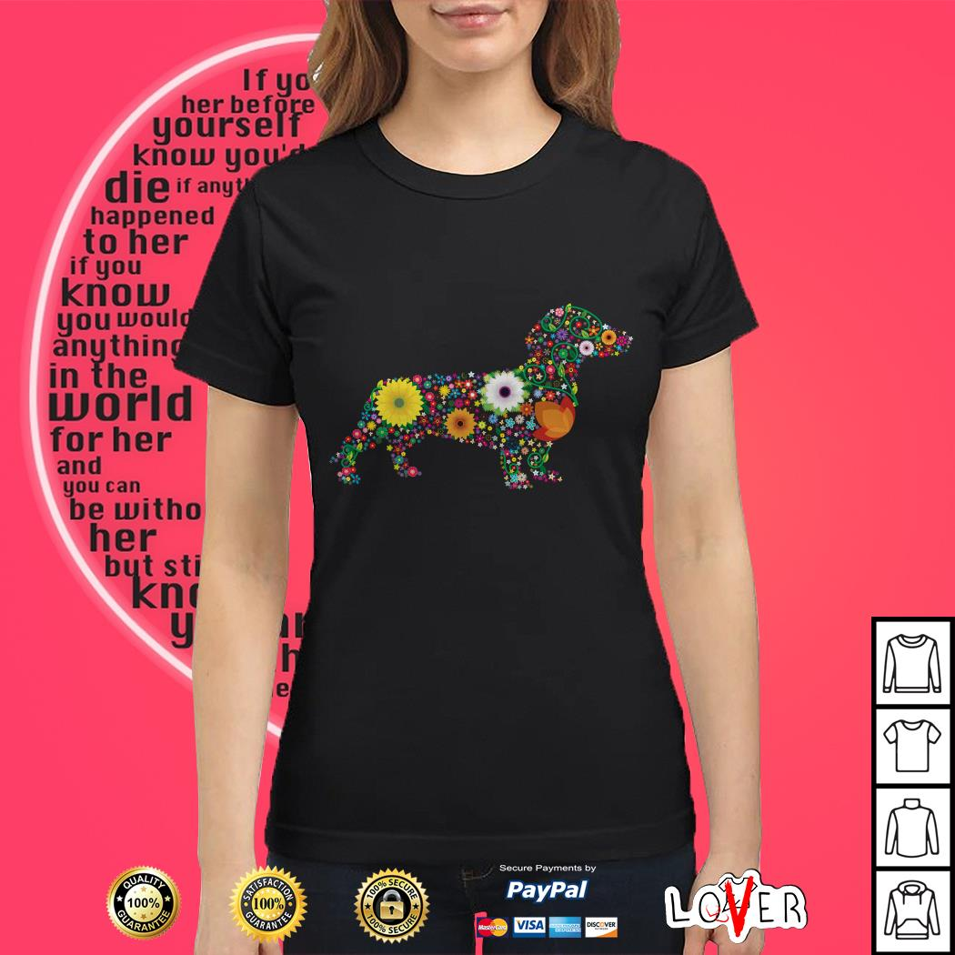 Dachshund Dog Flower custom text Ladies tee