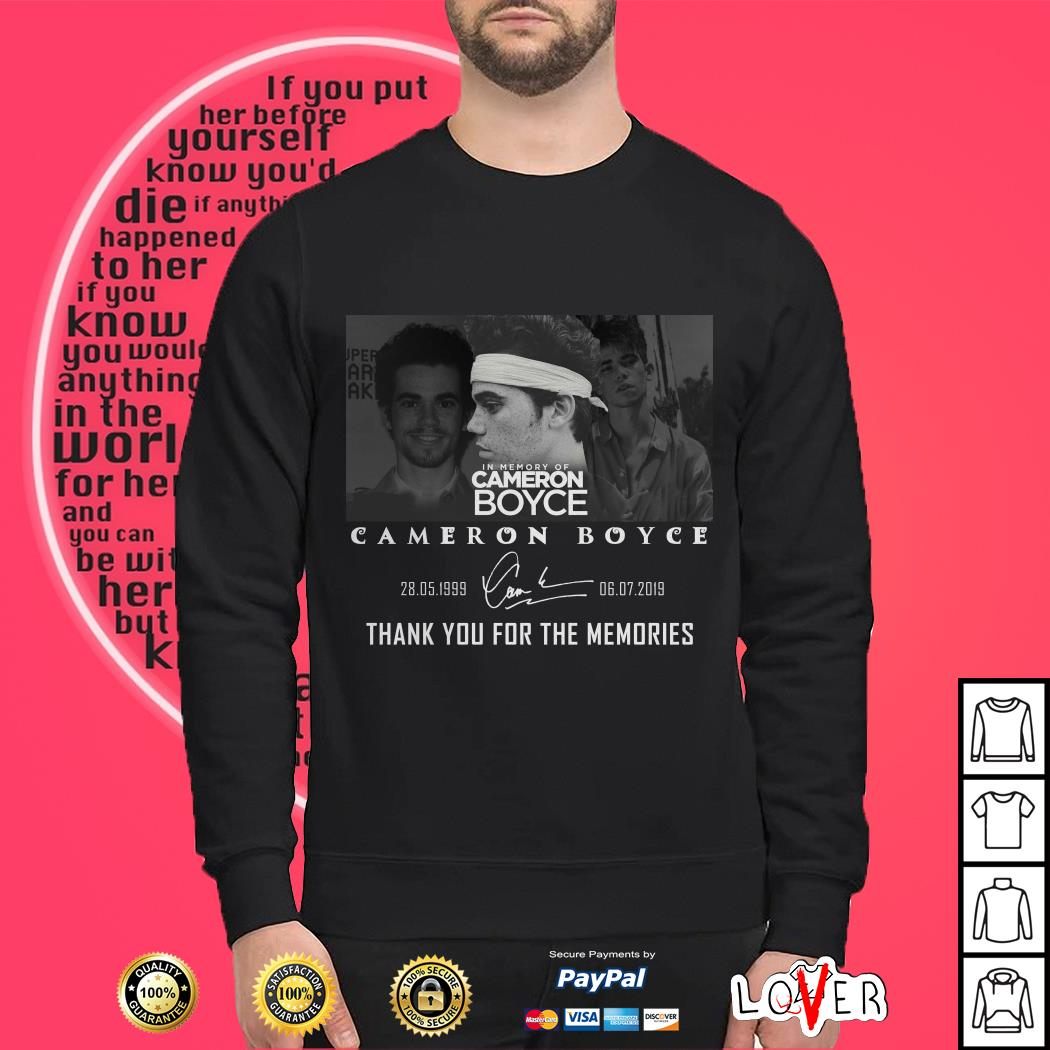 In memory of Cameron Boyce 1999 2019 thank you for the memories signature Sweater