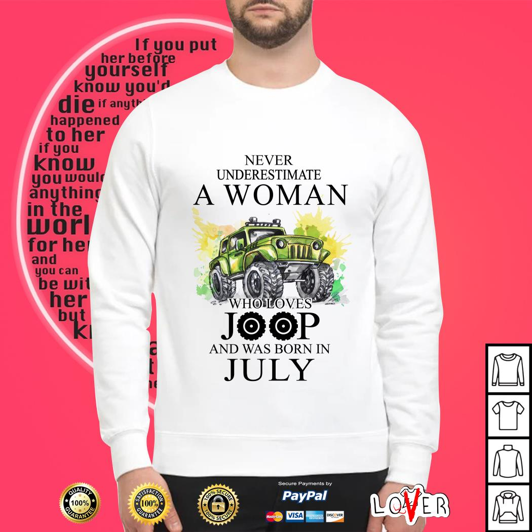 Never underestimate a woman who loves jeep and was born in July SweaterNever underestimate a woman who loves jeep and was born in July Sweater