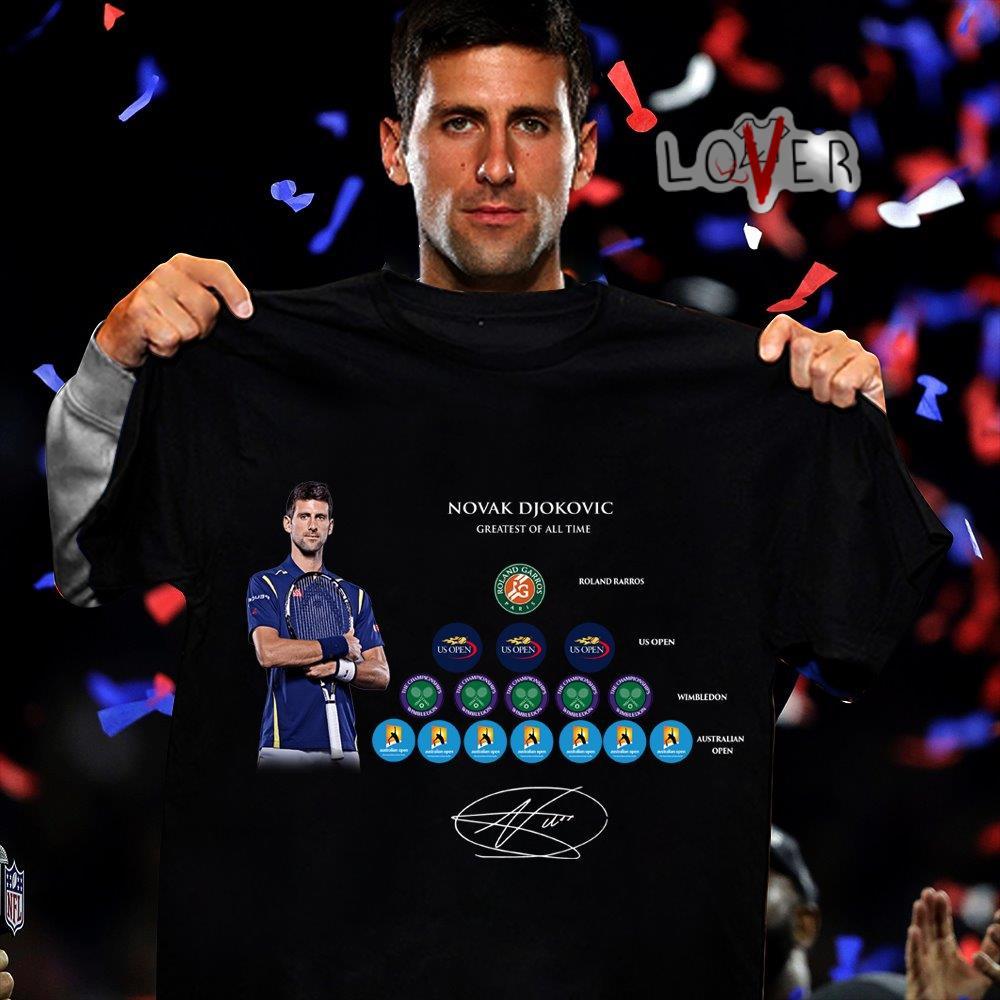 Novak Djokovic greatest of all time signature shirtNovak Djokovic greatest of all time signature shirt