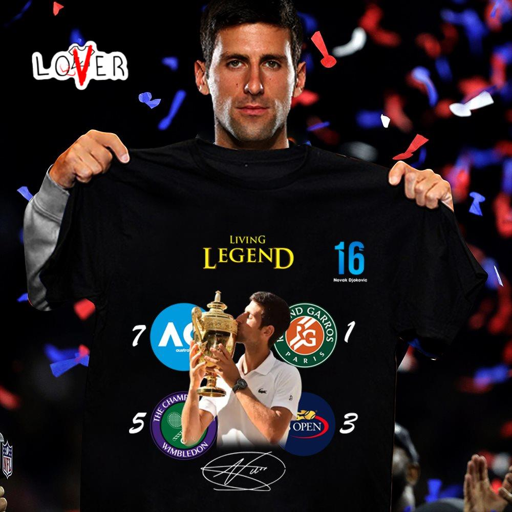 Novak Djokovic Living Legend 16 Grand Slam Shirt Hoodie