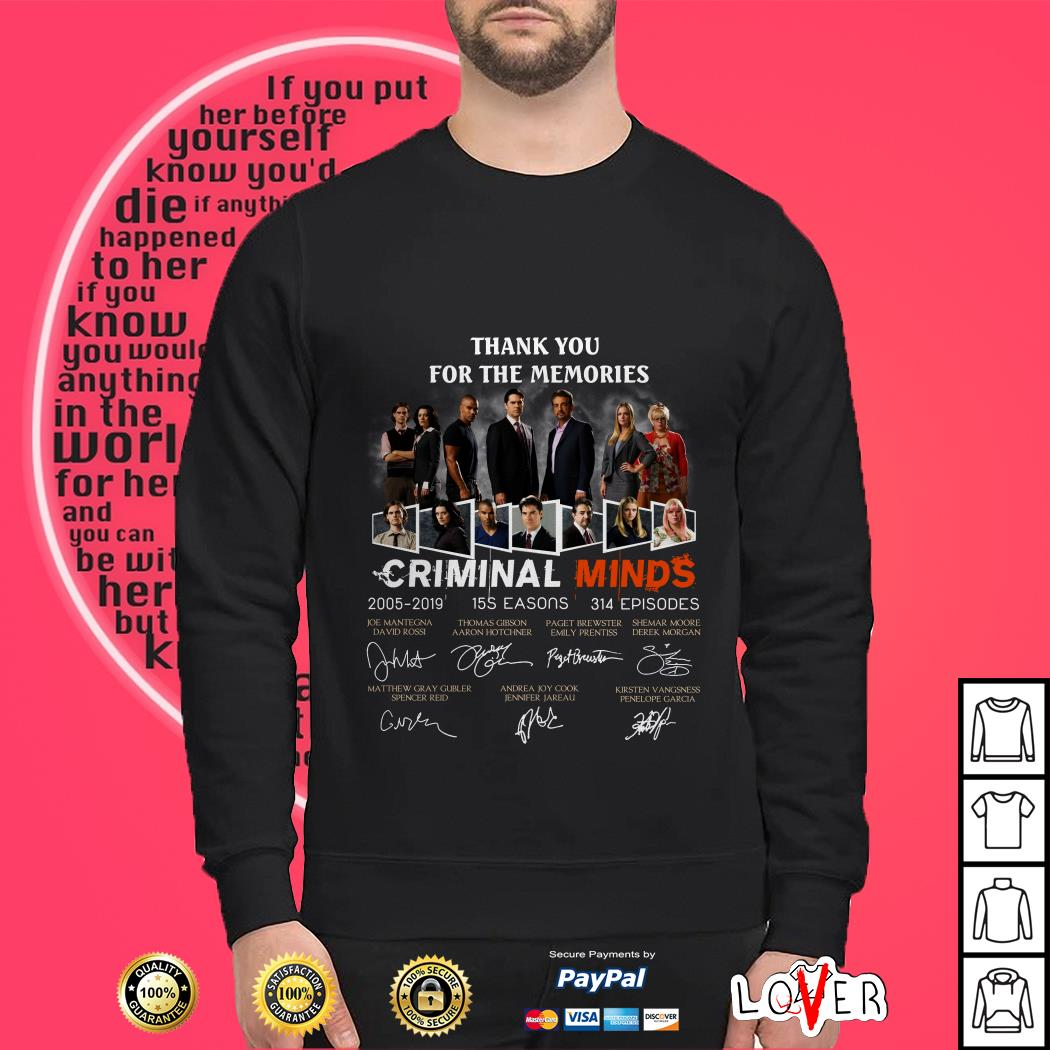 Official Thank you for the memories Criminal Minds 2005-2019 signature Sweater