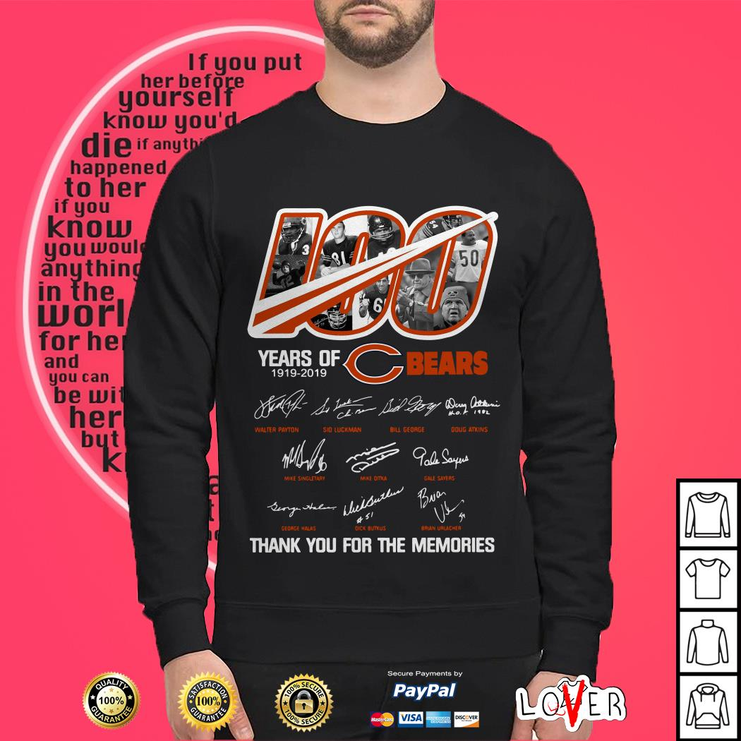 100 years of Chicago Bears 1919-2019 thank you for the memories Sweater