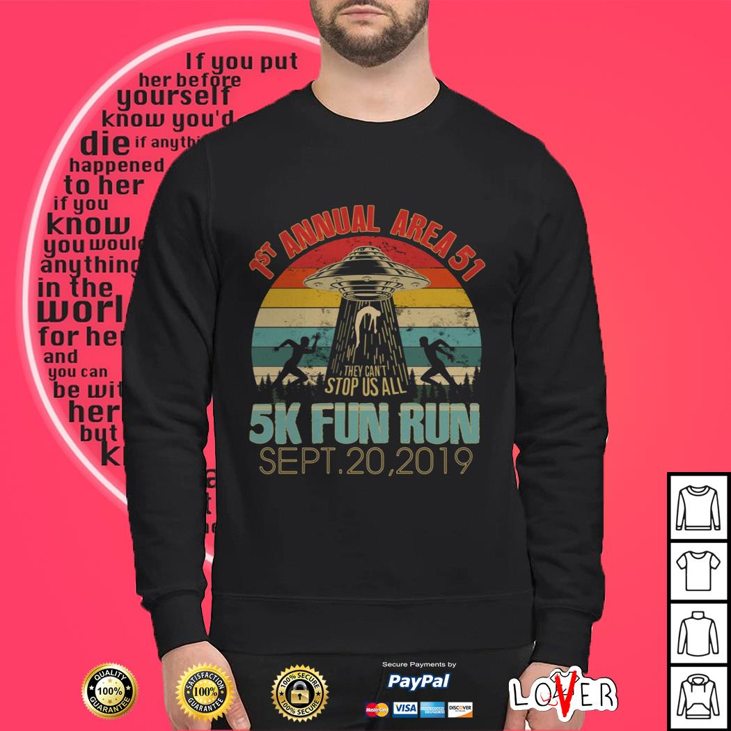 1st Annual Area 51 5K Fun Run UFO Alien vintage Sweater