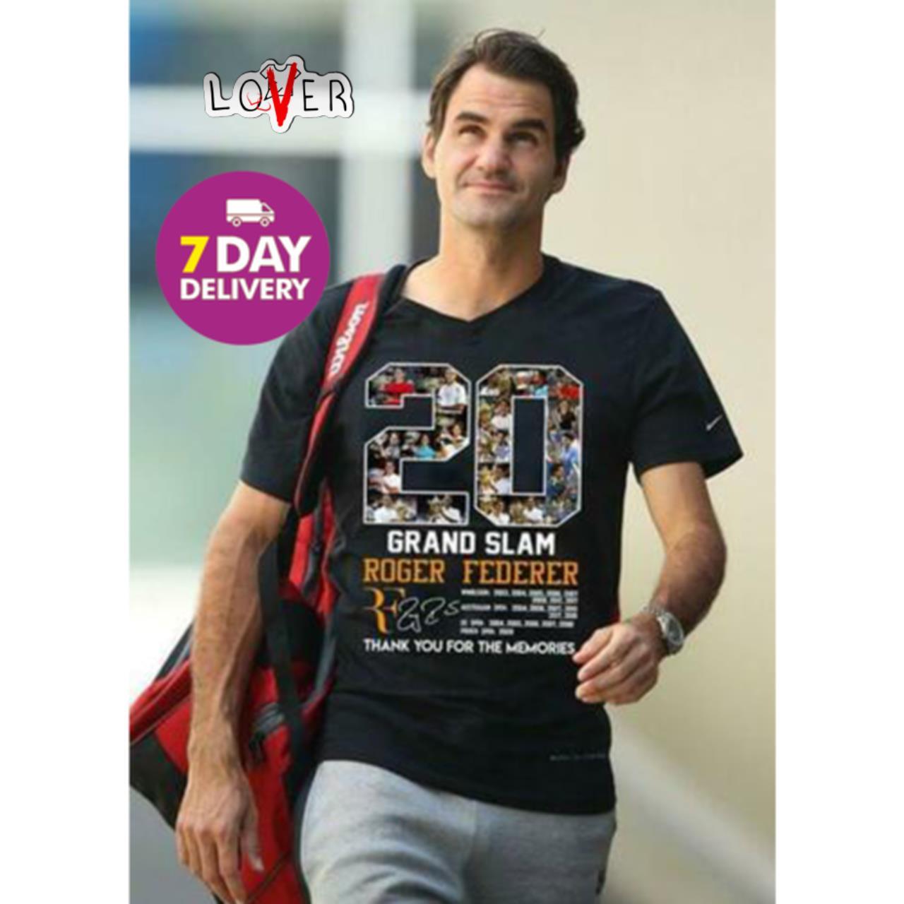 20 Years Grand Slam Roger Federer signature shirt