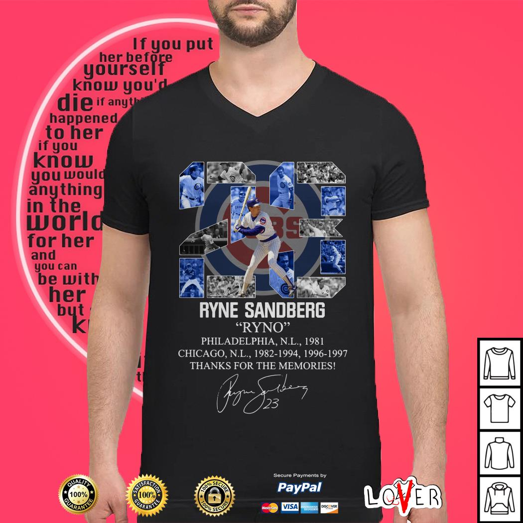 23 Ryne Sandberg Ryno thanks for the memories signature shirt