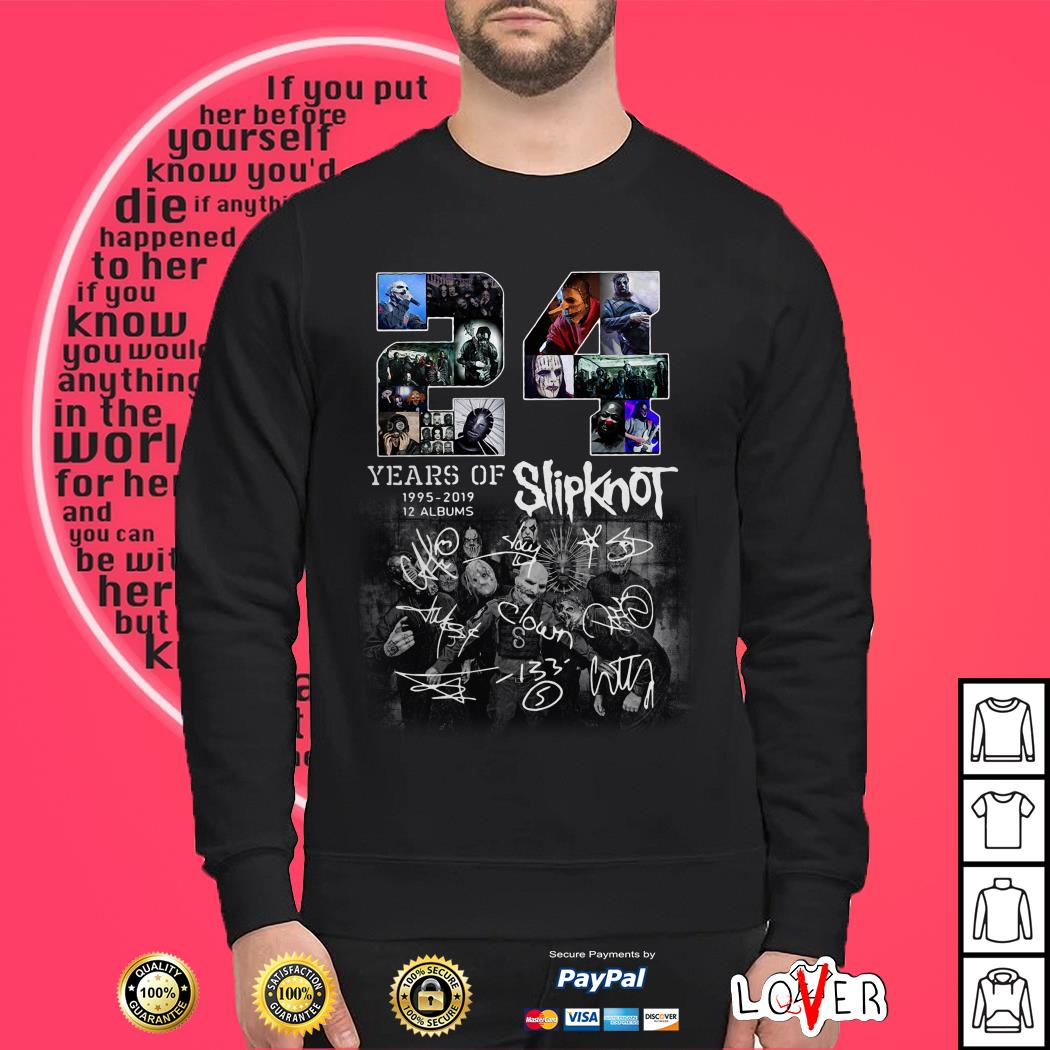 24 years of 1995 2019 12 albums Slipknot signature Halloween Sweater