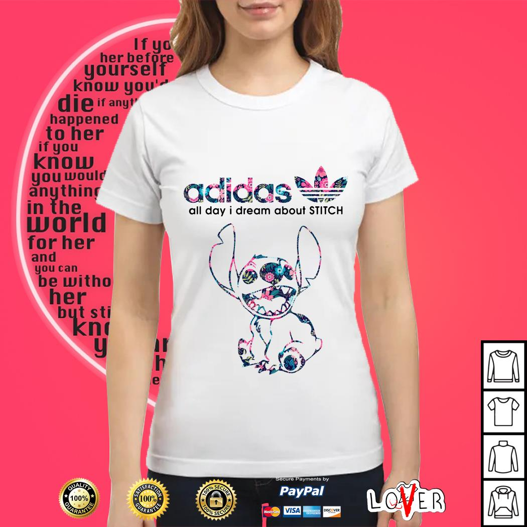 Adidas all day I dream about Stitch Ladies tee