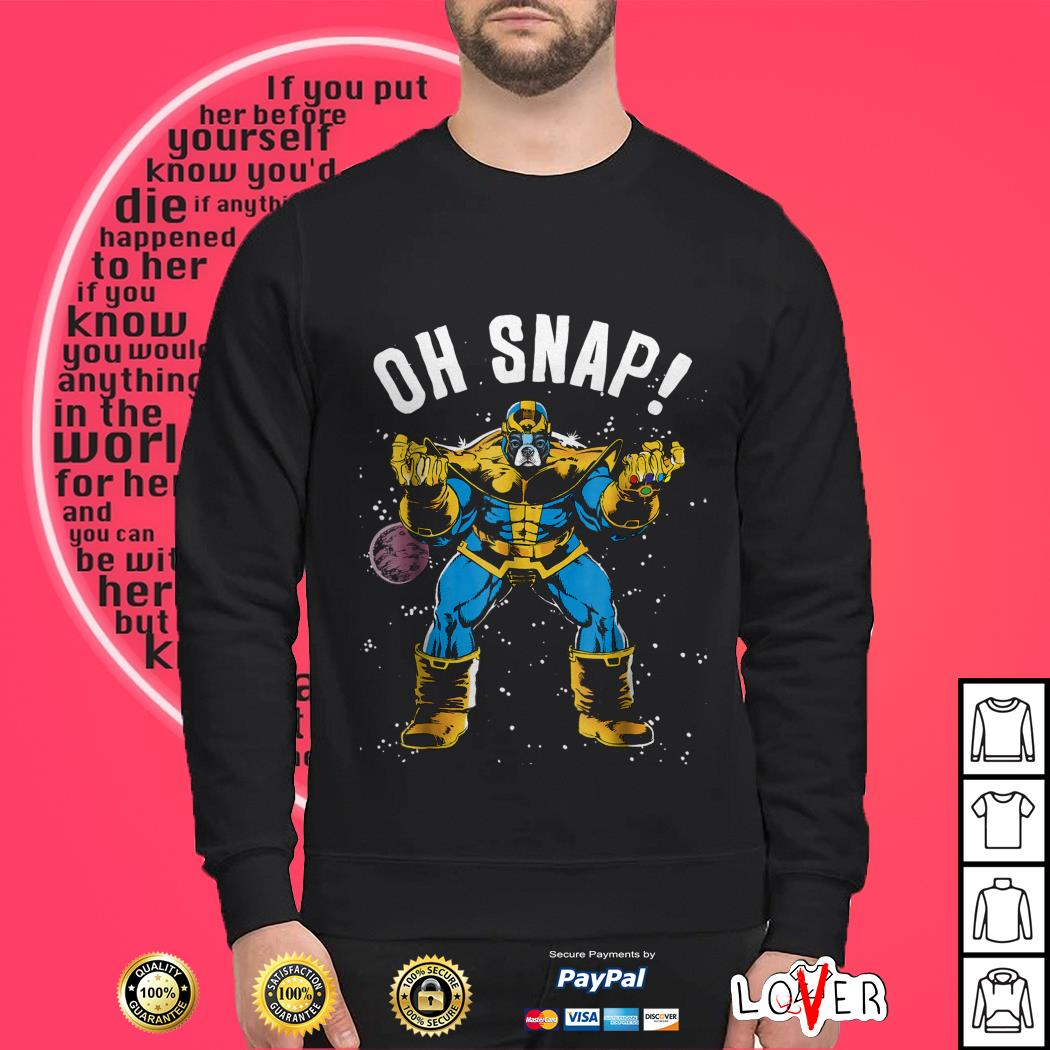 Boston Terrier Avengers Thanos oh snap Sweater