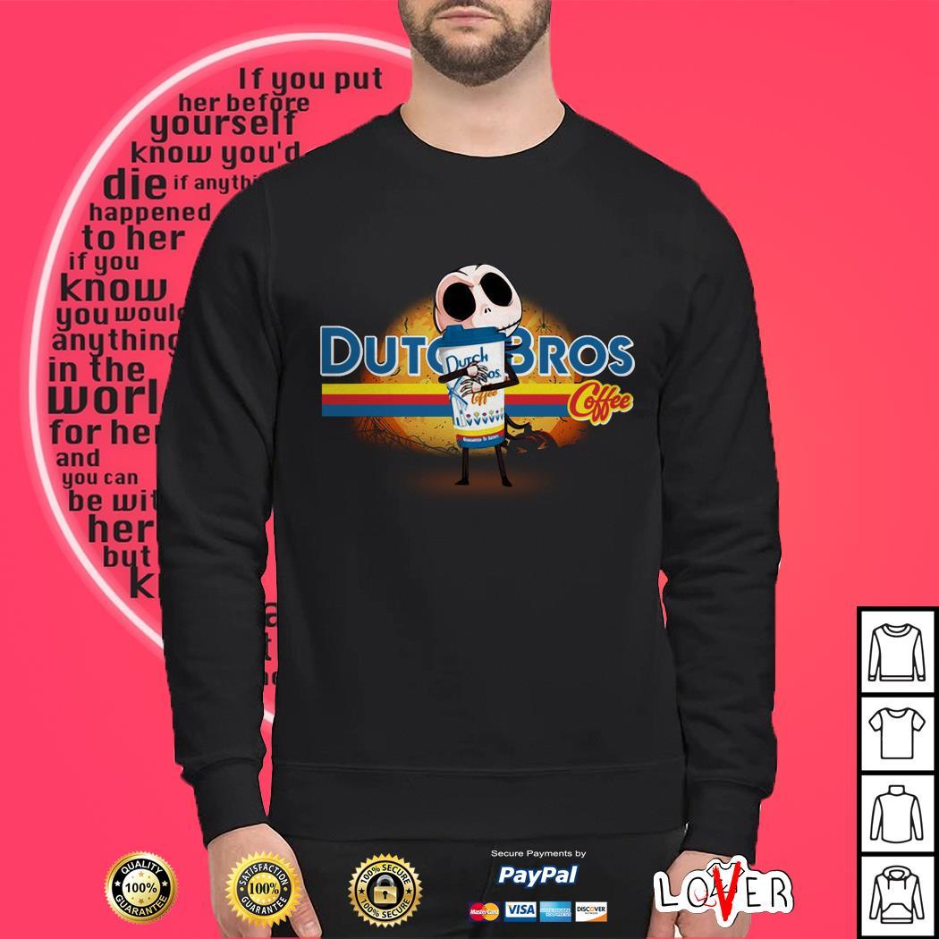Jack Skellington hug Dutch Bros coffee Halloween Sweater
