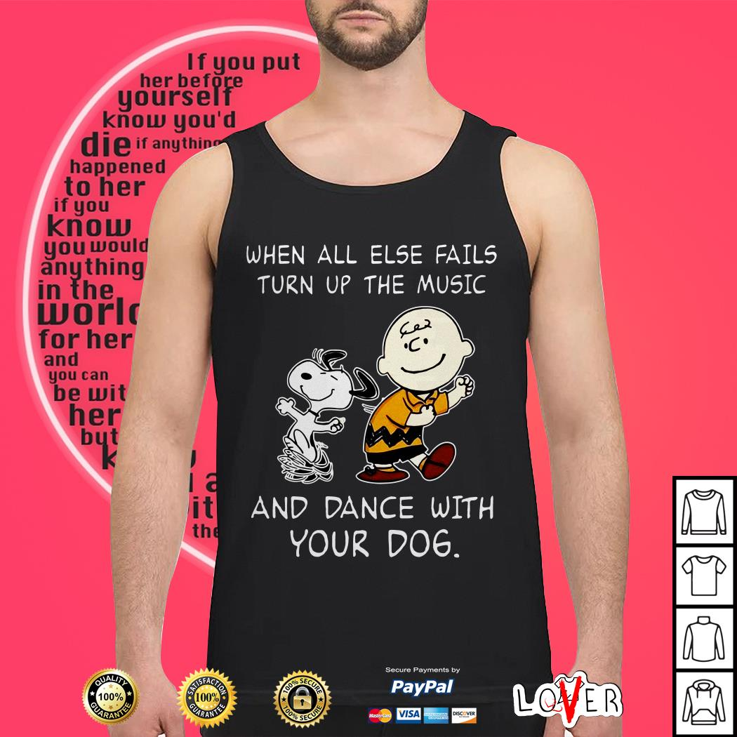 Official Snoopy and Charlie Brown When all else fails turn up the music and dance with your dog Tank top