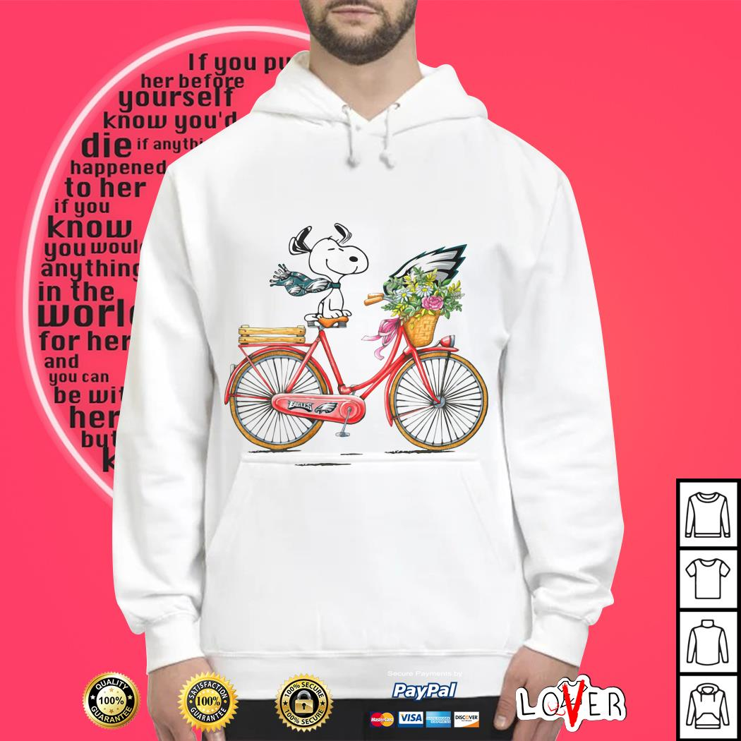 Philadelphia Eagles Snoopy riding a bicycle Hoodie