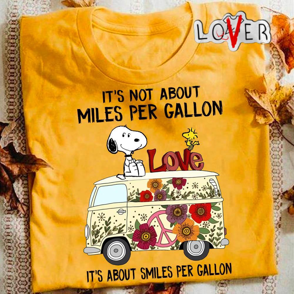 Snoopy and Woodstock love Car hippie It's not about miles per gallon shirt